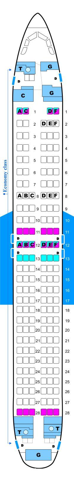 Seat map for Malev Hungarian Airlines Boeing B737 800NG Config. 1