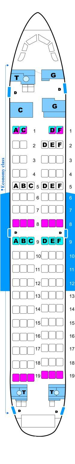 Seat map for Malev Hungarian Airlines Boeing B737 600NG