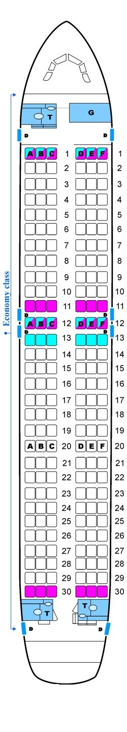 Seat map for Skyservice Airlines Airbus A320
