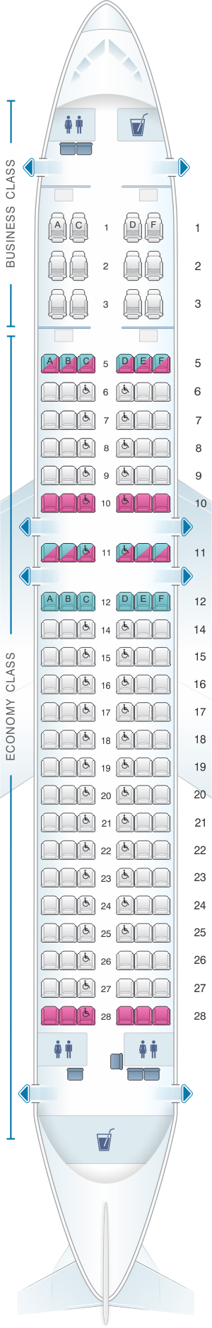 Seat map for SriLankan Airlines Airbus A320 Config. 3