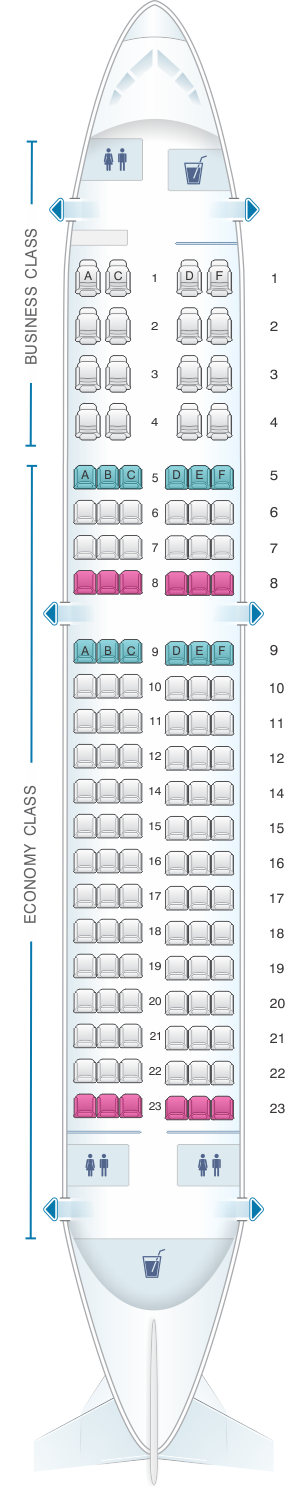 Seat map for Air Mauritius Airbus A319 100 two class