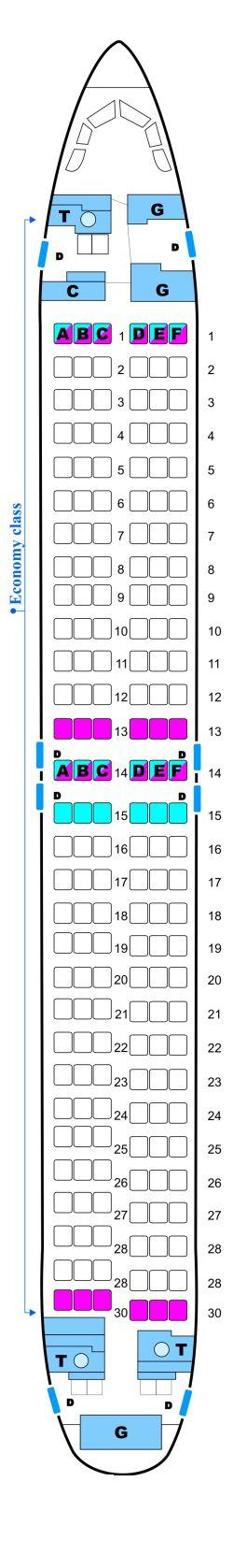 Seat map for Malev Hungarian Airlines Boeing B737 800NG Config. 2