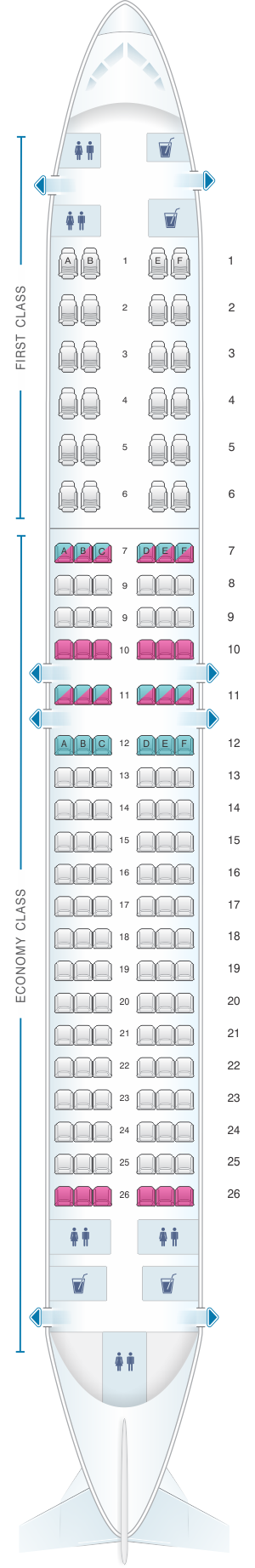 Seat map for Air Algerie Boeing B737-800 config 2