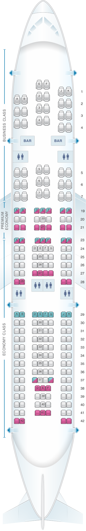 Plan de cabine air france airbus a330 200 long haul for Interieur d avion air france