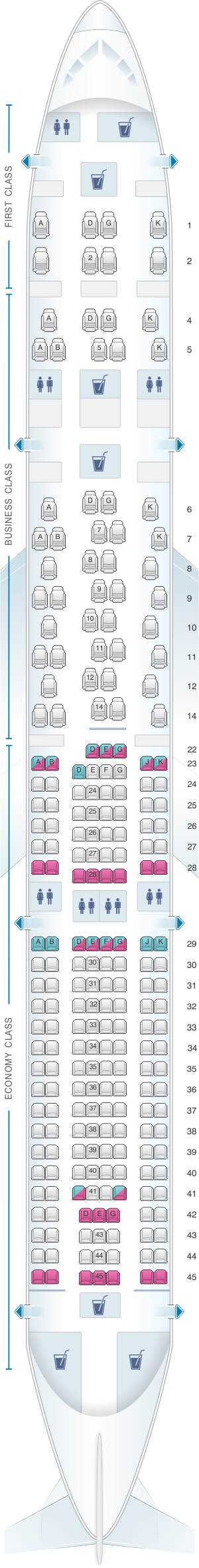 Seat map for SWISS Airbus A330 300