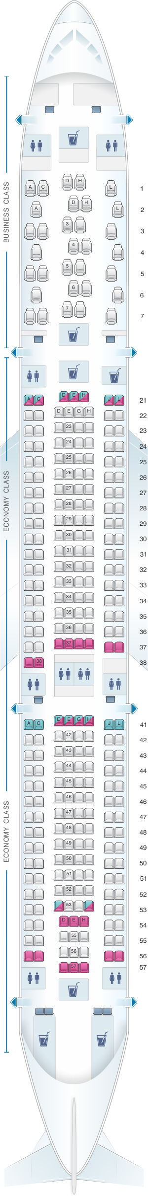 Seat map for Finnair Airbus A330 300 297PAX