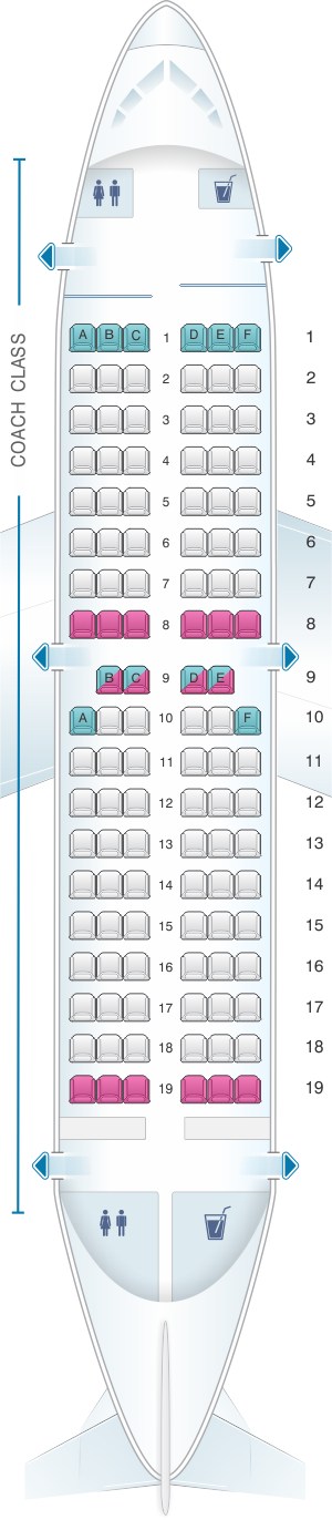 Seat map for Air Inuit Boeing B737 200C 112pax