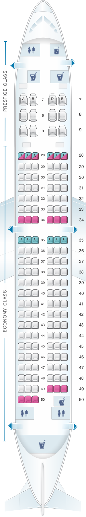 Seat map for Korean Air Boeing B737 800 147PAX