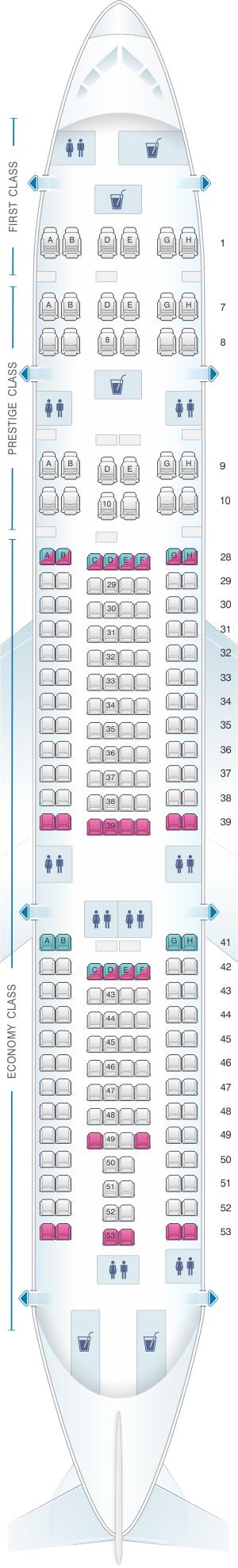 Seat map for Korean Air Airbus A330 200 218PAX