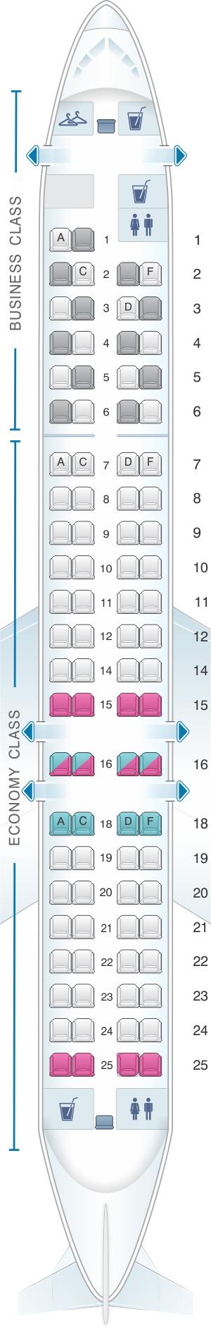 Seat map for Lufthansa Bombardier Canadair CRJ 900