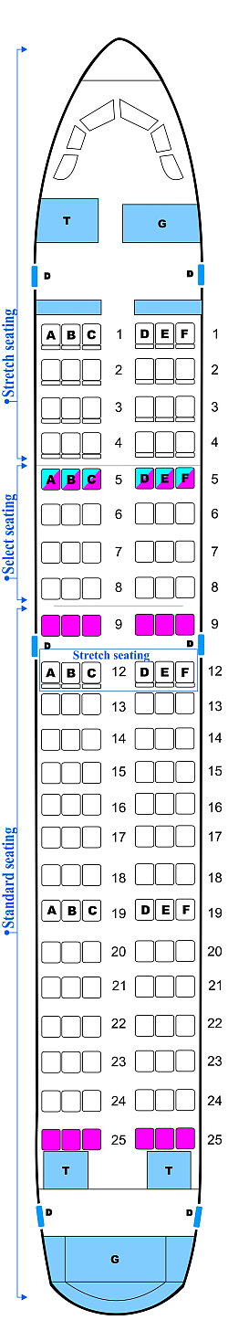 Seat map for Midwest Airlines Airbus A319