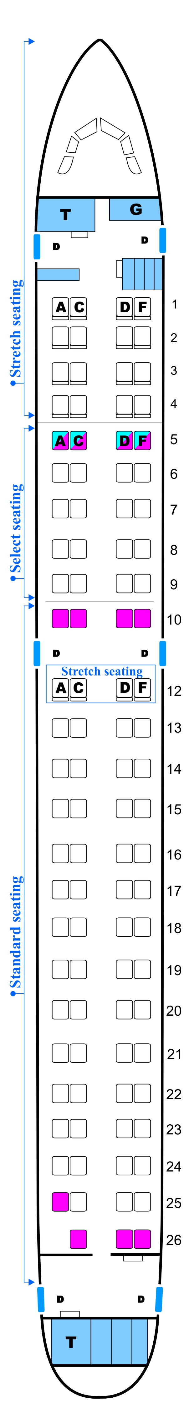 Seat map for Midwest Airlines Embraer E190 Config. A