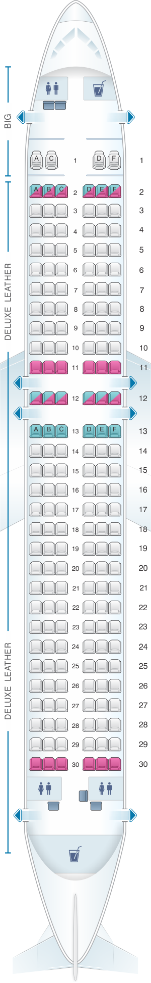 Seat map for Spirit Airlines Airbus A320 178PAX