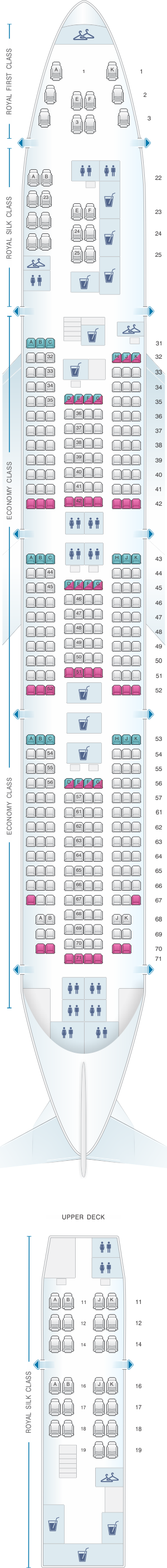 Seat map for Thai Airways International Boeing B747 400 (74R/74N)