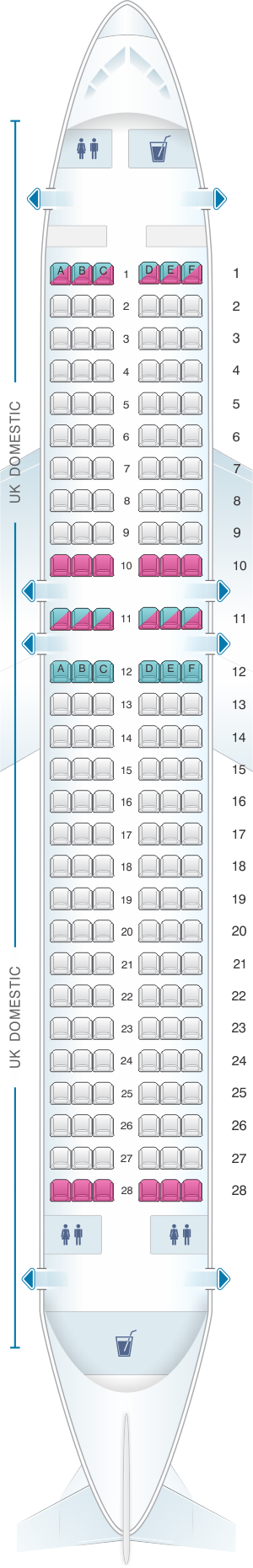 Seat map for British Airways Airbus A320 Domestic Layout
