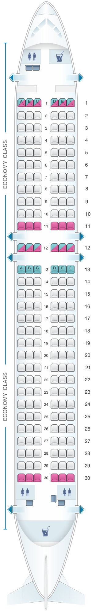 Seat map for Freebird Airlines Airbus A320