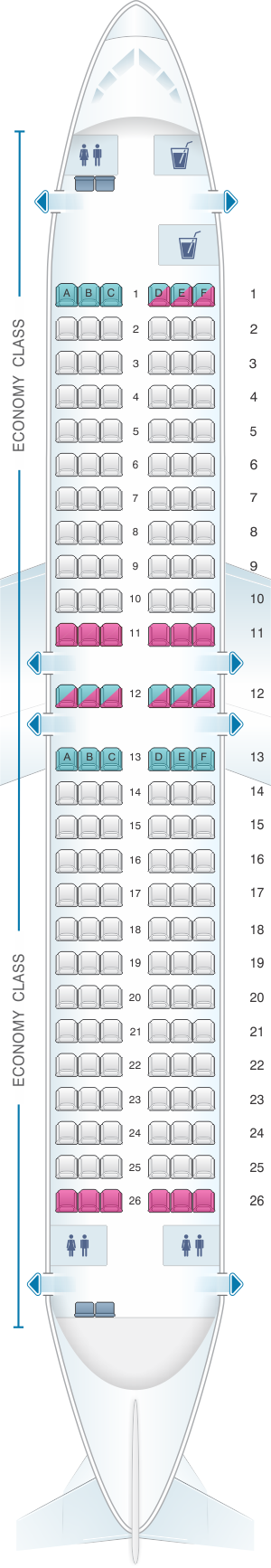 Seat map for Air North - Yukon's Airline Boeing B737 400