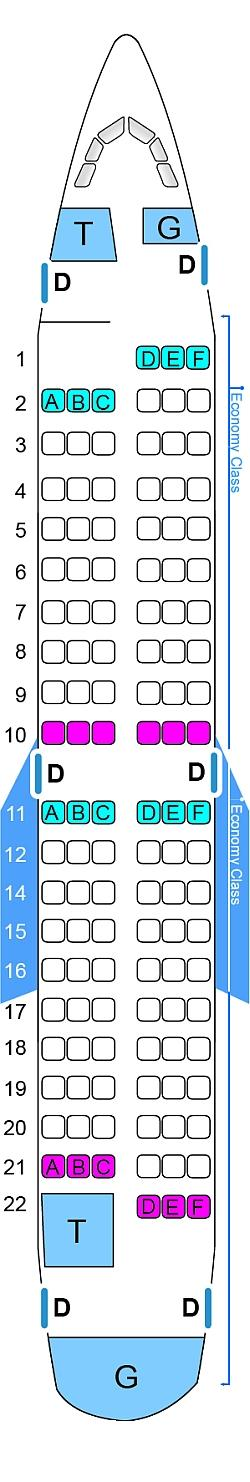 Seat map for SkyExpress Boeing B737 500