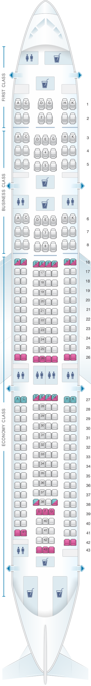 Seat map for Hi Fly Airbus A340 300  TQY/TQZ/JAY/FOX 267pax