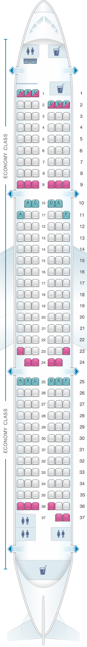 Seat map for Novair Airbus A321 200
