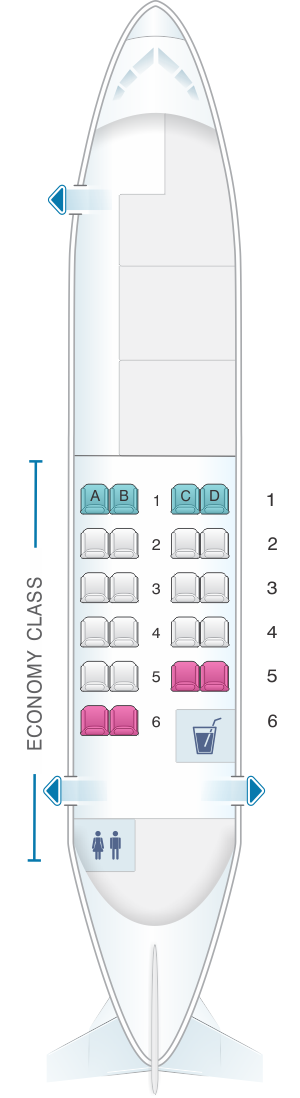 Seat map for Calm Air ATR 42 300 22pax
