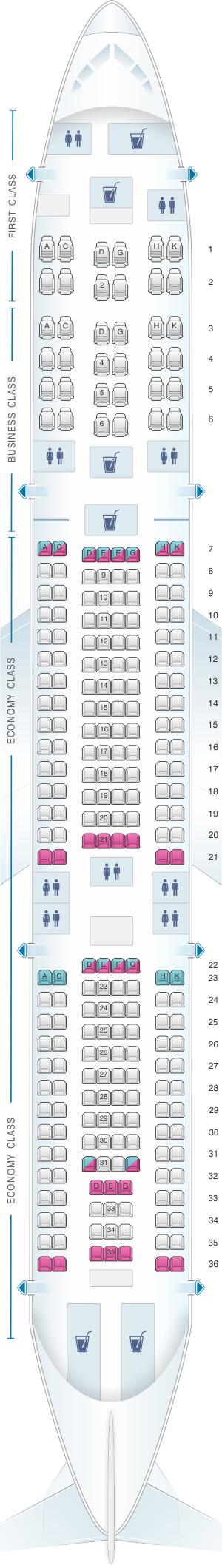 Seat map for Egyptair Airbus A340 212