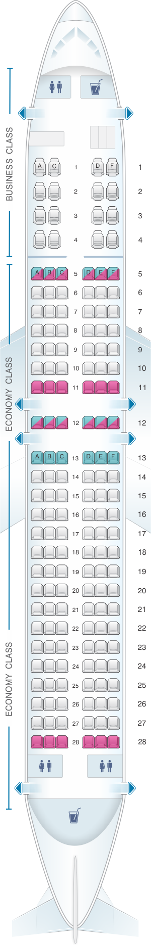 Seat map for Egyptair Boeing B737 800