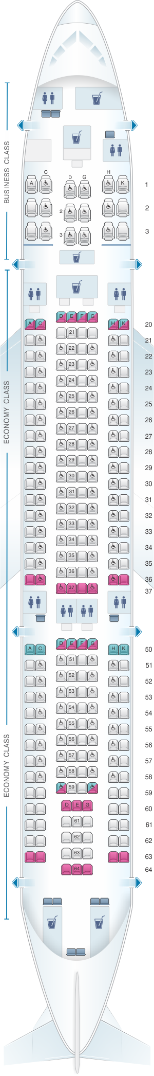 Seat map for SriLankan Airlines Airbus A330-200 Config. 1