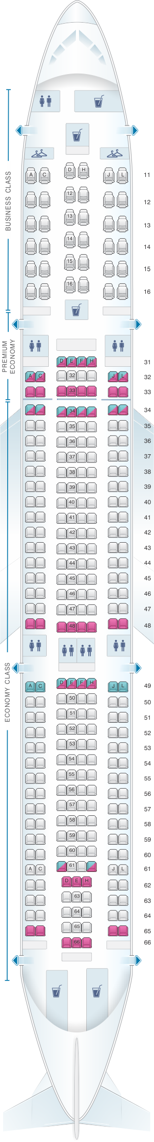 Seat map for Air China Airbus A330 300 (311PAX)