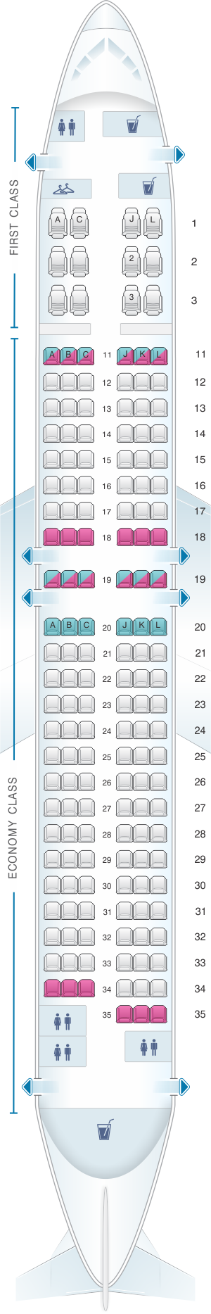 Seat map for Air China Boeing B737 800 (159PAX)