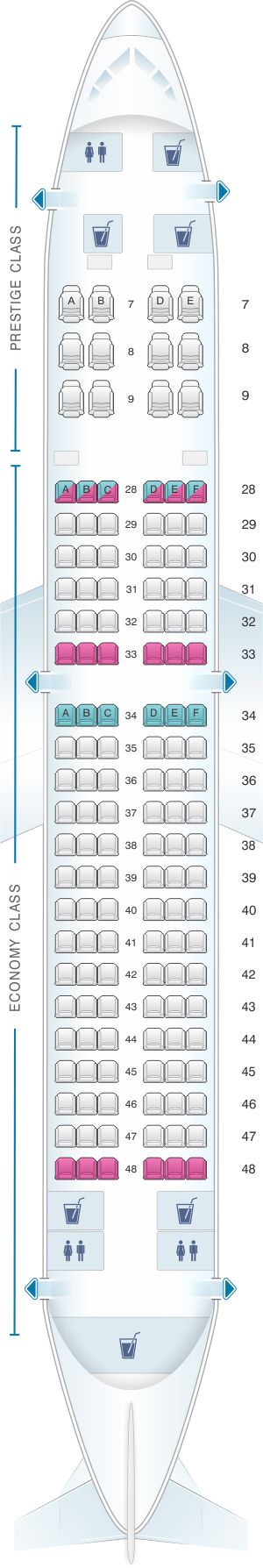 Seat map for Korean Air Boeing B737 800 138PAX
