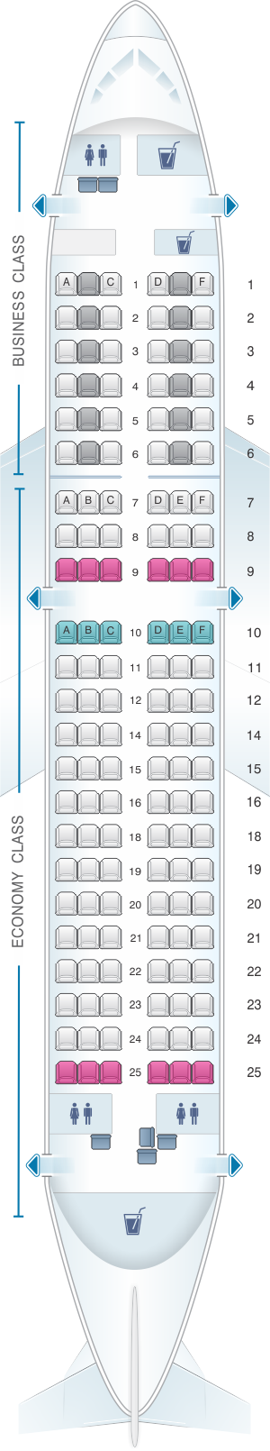 Seat map for Lufthansa Airbus A319