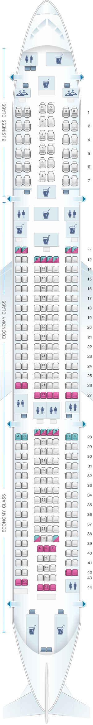 Seat map for Malaysia Airlines Airbus A330 300