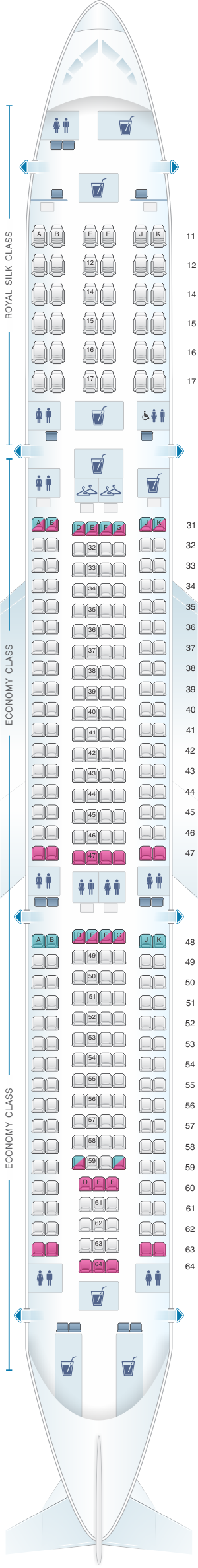 Seat map for Thai Airways International Airbus A330 300 (330/33H)