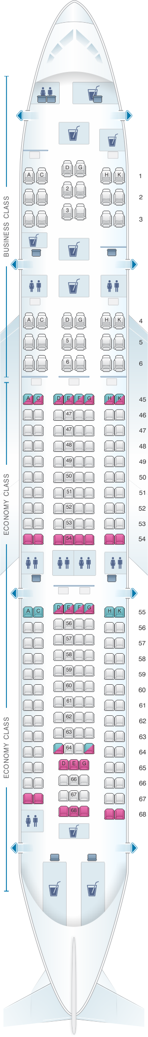 Seat map for South African Airways Airbus A330 200