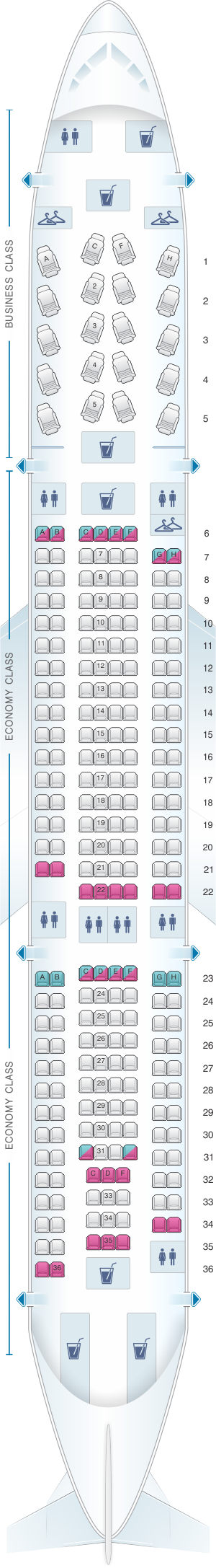 Seat map for US Airways Airbus A330 200
