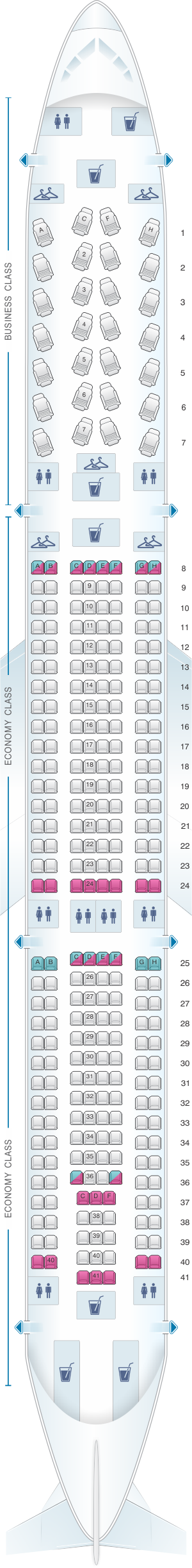 Seat map for US Airways Airbus A330 300