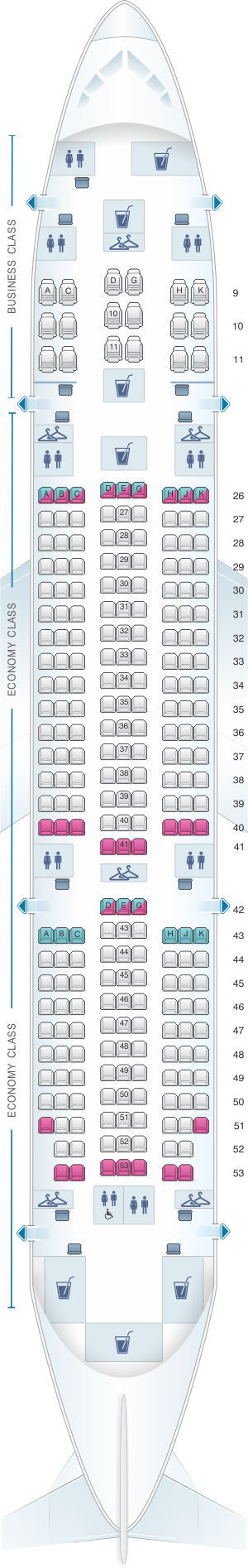 Seat map for Royal Brunei Airlines Boeing B787-8 Dreamliner