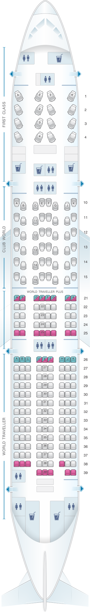 Seat map for British Airways Boeing B777 200 four class