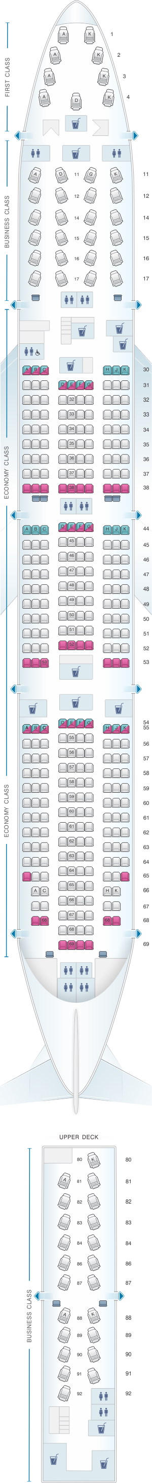 Seat map for Cathay Pacific Airways Boeing B747 400 (74A)