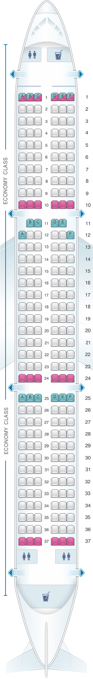 Seat map for Jetstar Airways Airbus A321 220pax