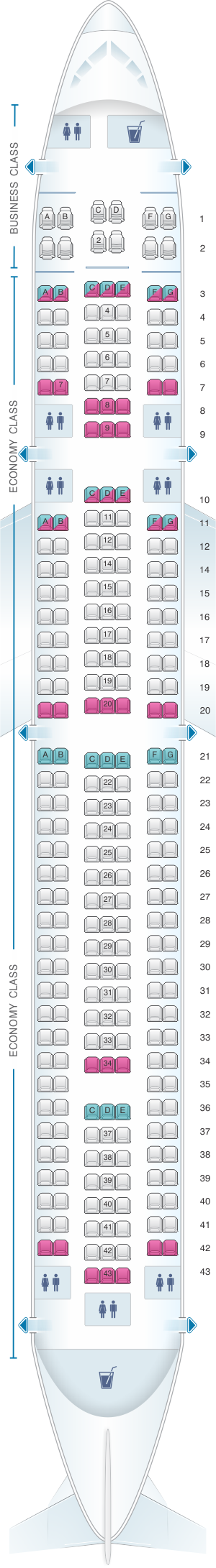 Seat map for Blue Panorama Boeing B767 300ER