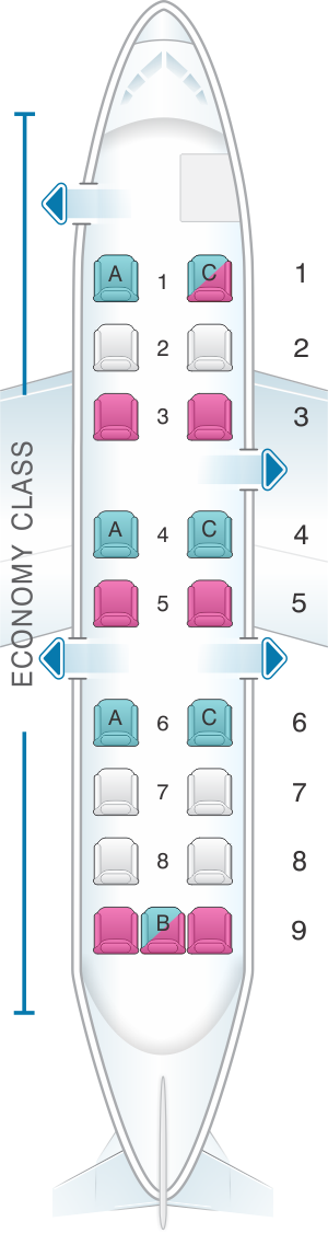 Seat map for United Airlines Beechcraft B1900