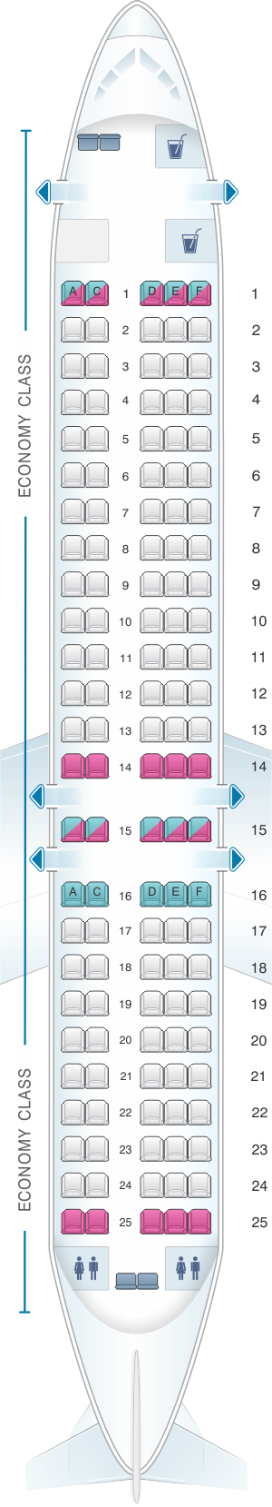 Seat map for Qantas Airways Boeing B717 200 125PAX