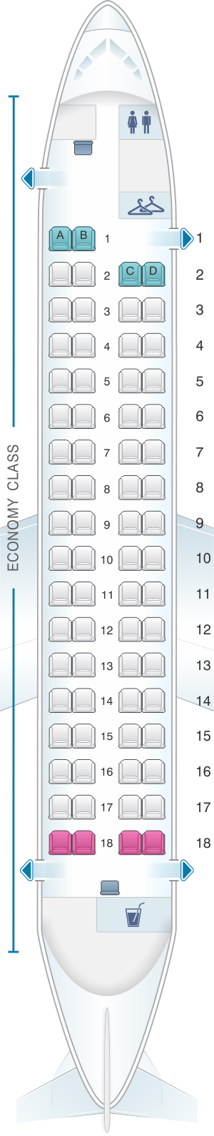 Seat map for Porter Airlines Bombardier Q400