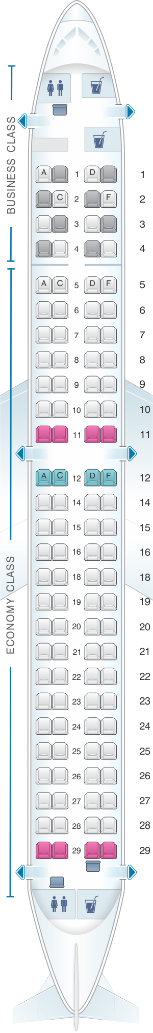 Seat map for Lufthansa Embraer E190