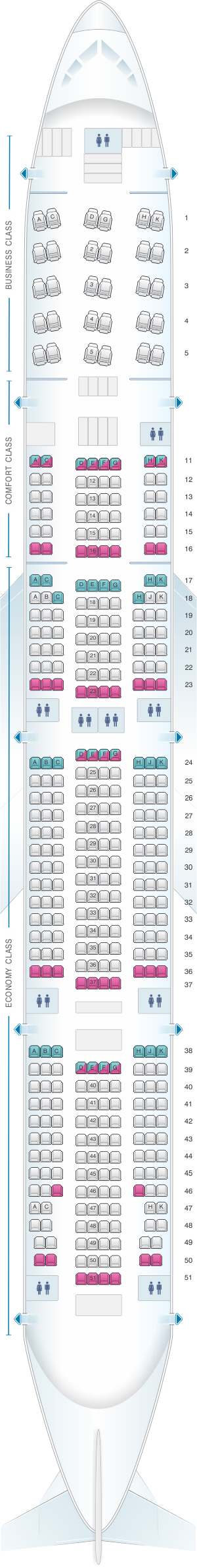 Plan de cabine aeroflot russian airlines boeing b777 300er for Plan cabine 777 300er