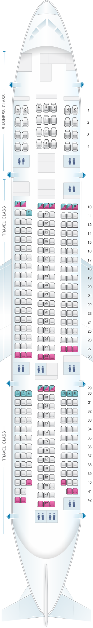 Seat map for Asiana Airlines Boeing B777 200ER 300PAX V1