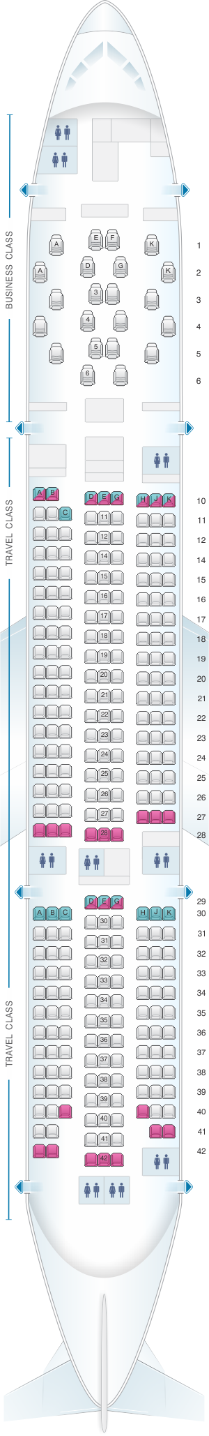 Seat map for Asiana Airlines Boeing B777 200ER 294PAX