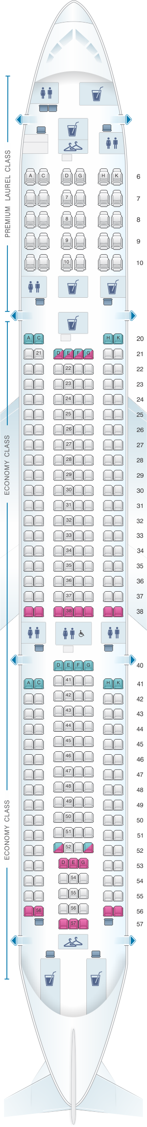 Seat map for EVA Air Airbus A330 300